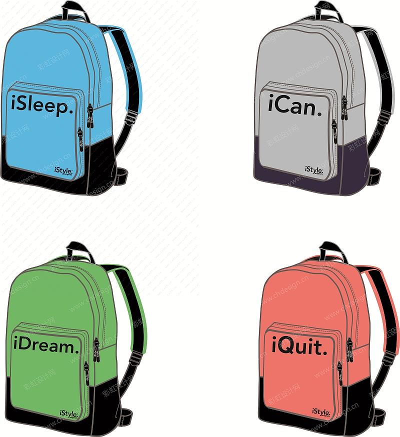 运动休闲箱包 背包 手提袋 游泳袋 笔袋 钱包 购物袋 矢量图CDR格式设计