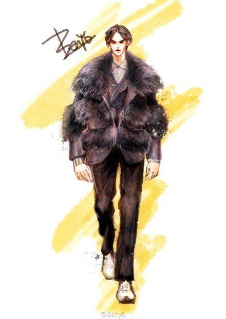 欧美男装走秀服装时尚插画绘本