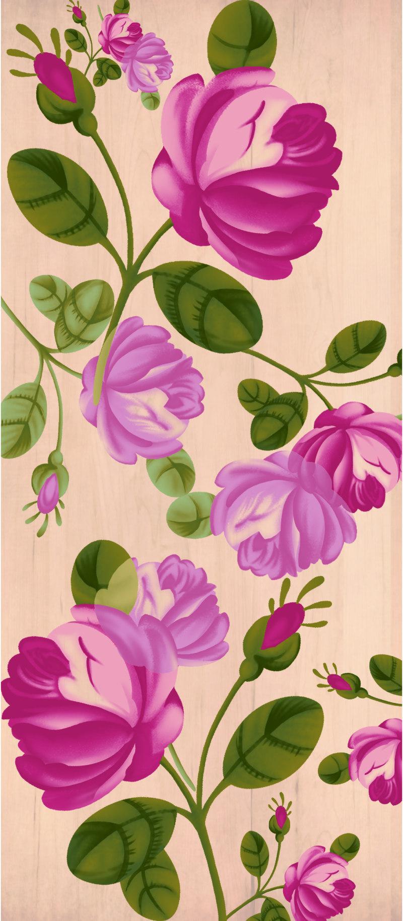 玫瑰花挂板图案
