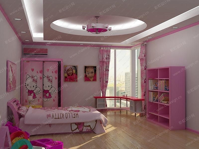粉色可爱公主风儿童房