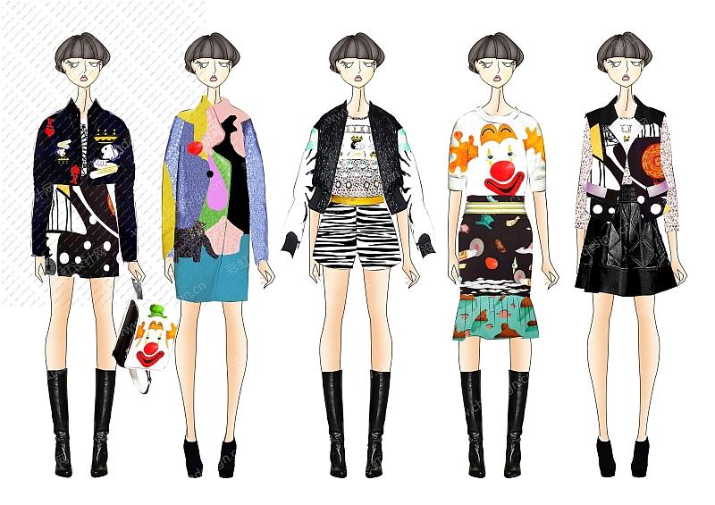 服装设计效果图  少淑女装设计(图案印花为自己开发的)趣味 印花