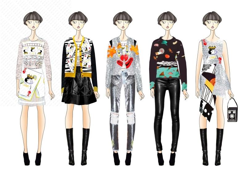 服装设计效果 少淑女装设计(图案印花为自己开发的)趣味 印花
