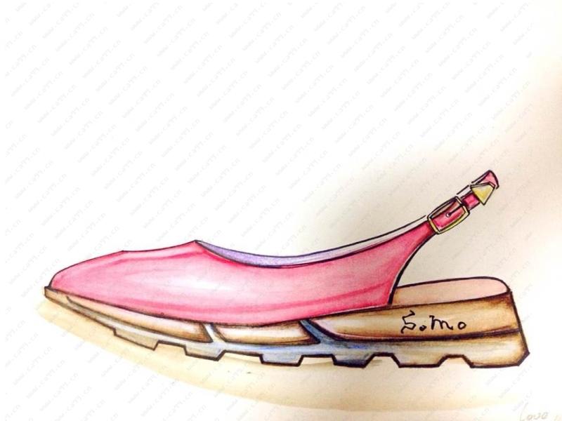 somo红色后空皮质运动凉鞋