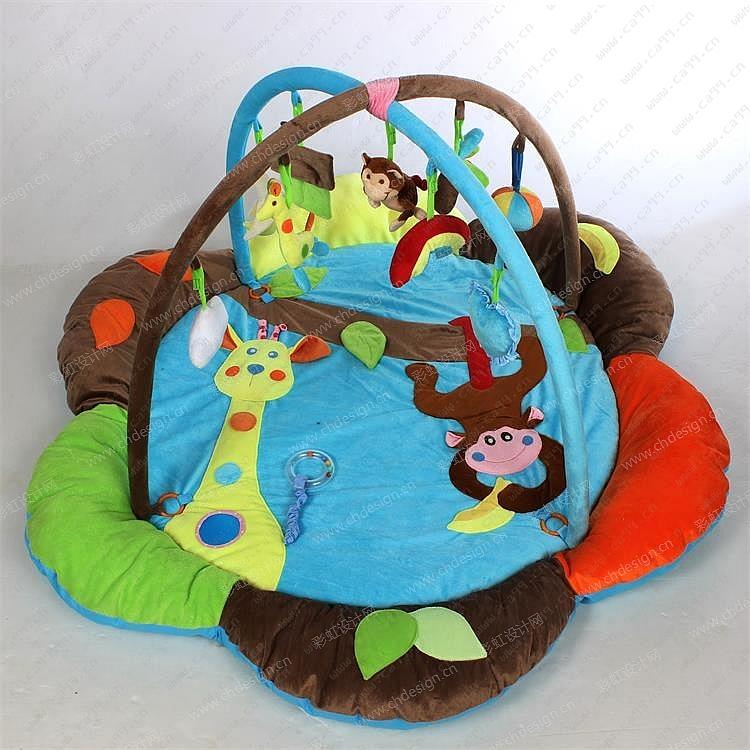 森林乐园儿童多功能游戏垫爬行毯健身架玩具天鹅绒材质欧美风格可爱动物