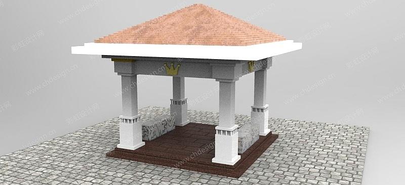 应聘时根据园林公司的参考图  所建模的园林景观的设计