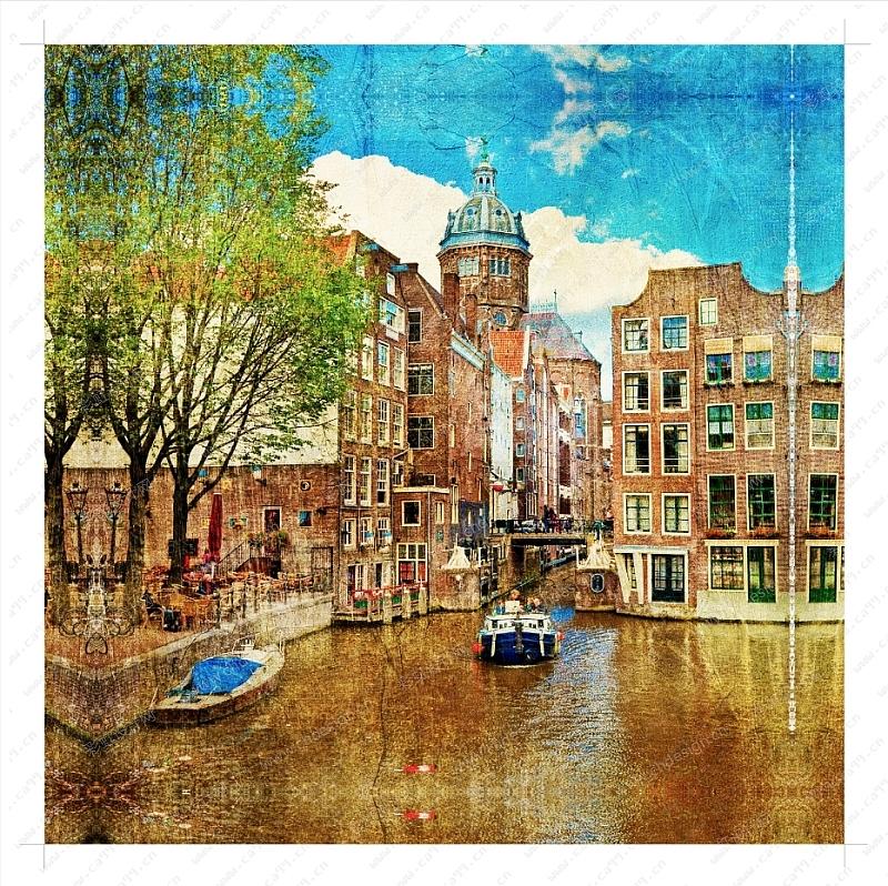国外风景城市无框画复古帆布画