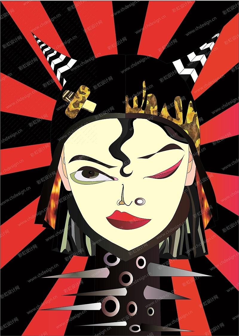 原创punk girl矢量图,服装图案,出版印刷