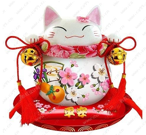 日韩陶瓷招财猫图案花形设计
