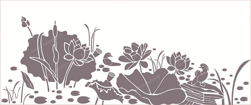 欧线铁皮花桶凹凸感图案设计-荷花