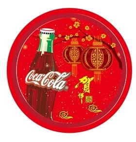 可口可乐春节主题马口铁糖果盘设计