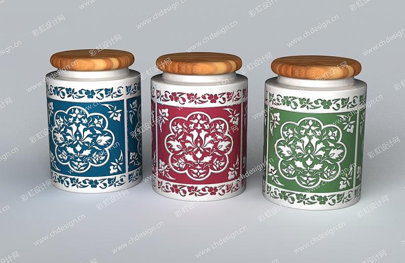 陶瓷产品花纹罐子
