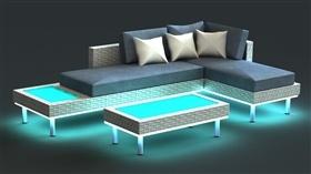 藤制帶燈沙發家具設計