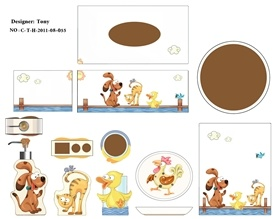 卡通動物衛浴組合
