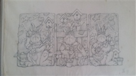 手绘复活节兔子