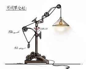 工业风可调节台灯手稿