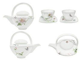 陶瓷蝴蝶花卉茶具系列