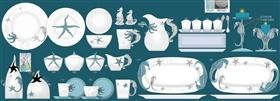 陶瓷海星海马浮雕餐具