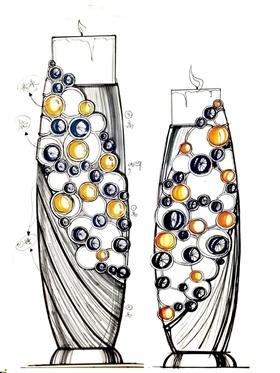 高檔珍珠鑲鉆玻璃燭臺
