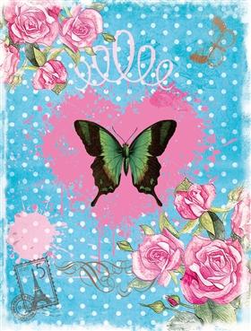 怀旧 花鸟 蝴蝶 花纸 图案