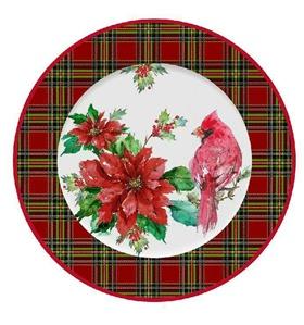 手绘圣诞红鸟日用盘子图案