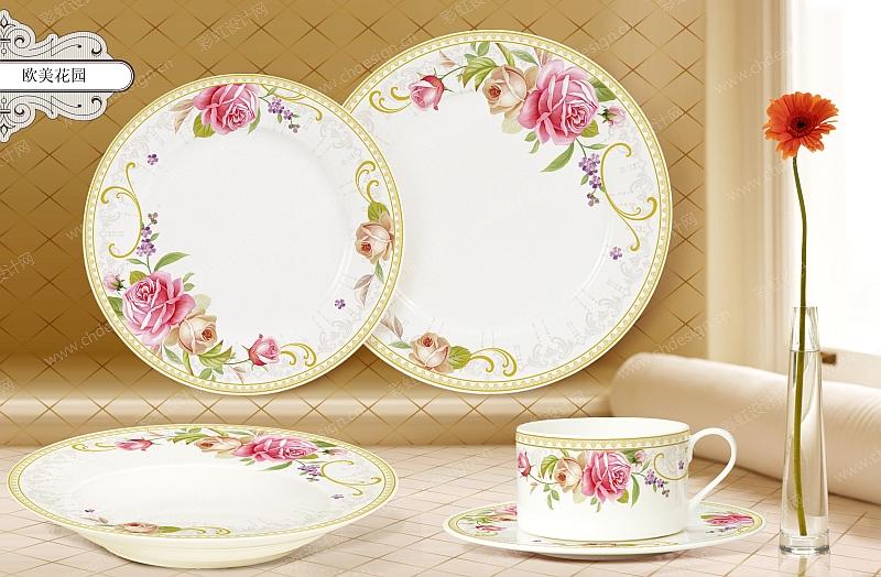 欧美花纸餐具