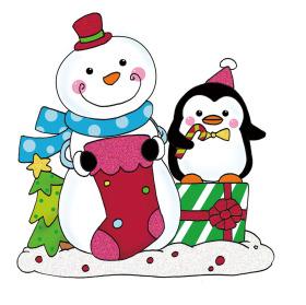 可爱圣诞雪人企鹅摆件