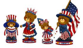 美国国庆国旗熊摆饰