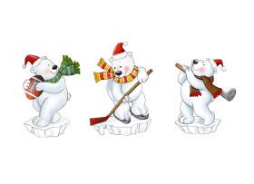 圣诞节日北极熊运动摆饰