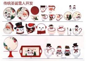 传统圣诞雪人陶瓷餐具开发