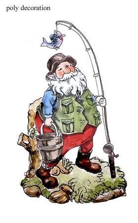 圣诞老公钓鱼摆件