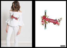 防大牌手绘花卉字母女装T恤印花图案