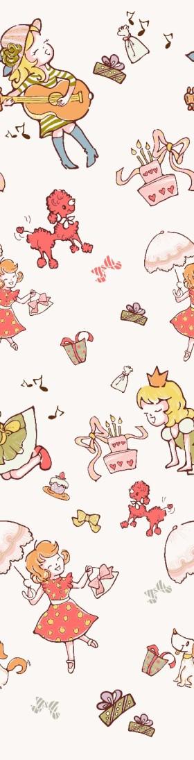 卡通时尚小女孩窗帘桌布靠垫床品图案