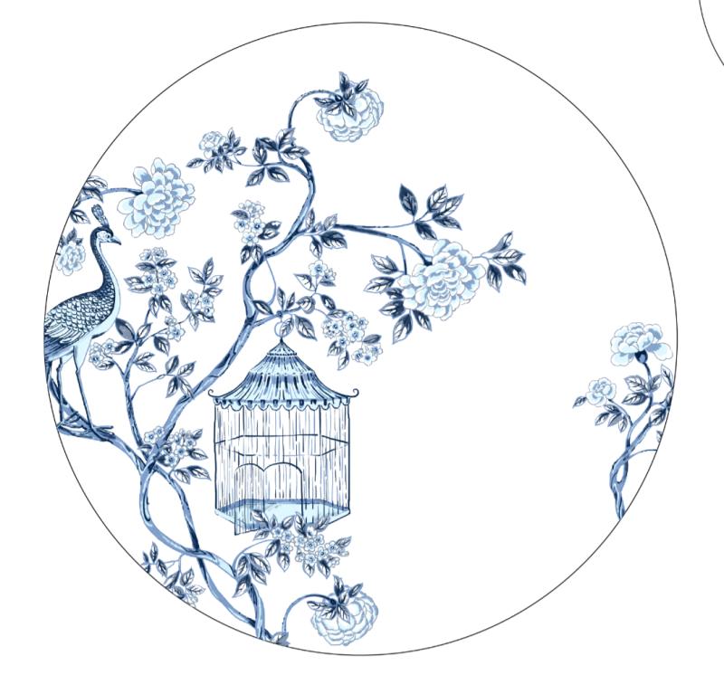 中国风国际化青花陶瓷花面