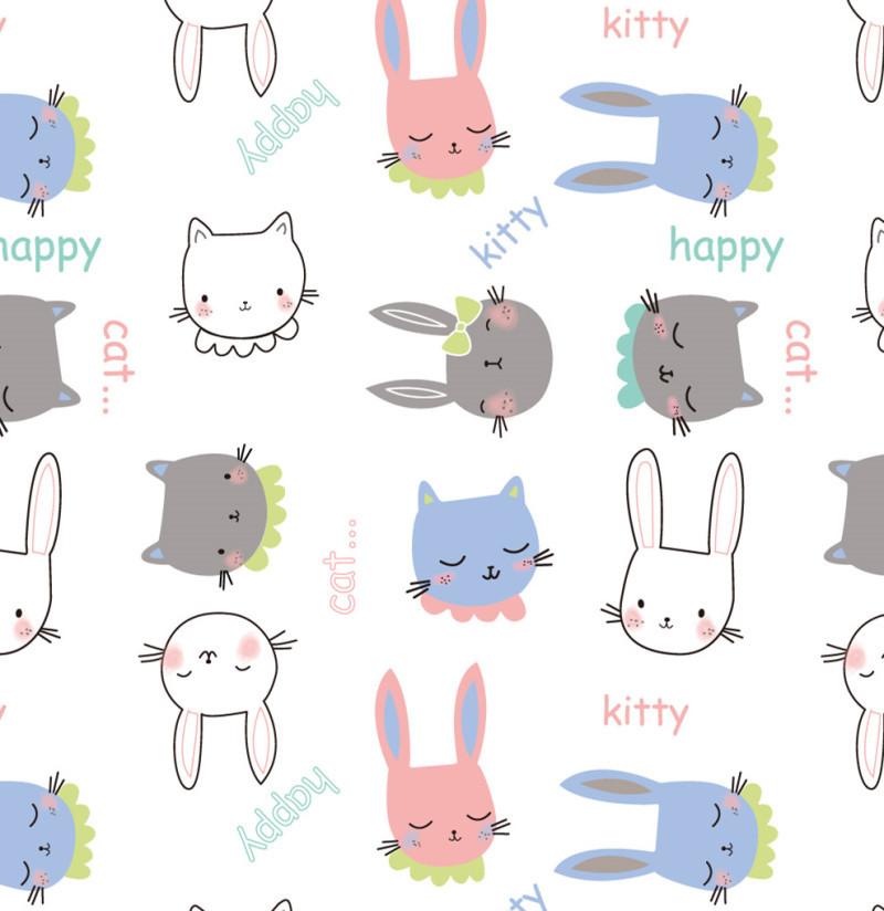 印花卡通小猫图案