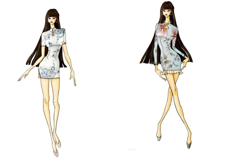 女短款旗袍礼服