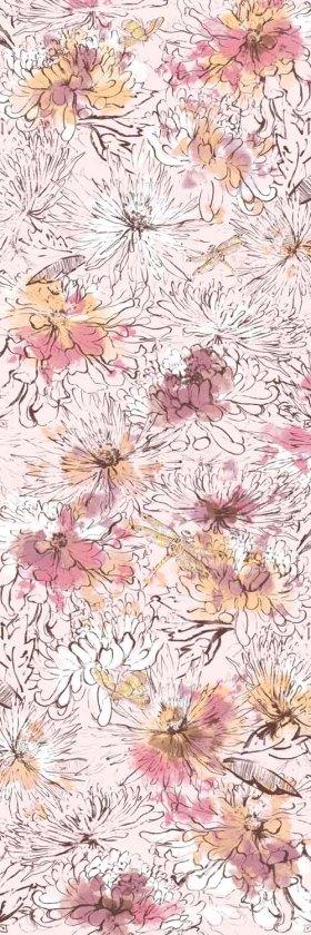 手绘花围巾印花图案