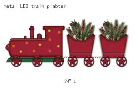 圣诞木铁乡村LED火车储物摆件