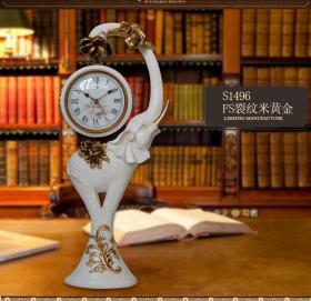 现代树脂大象座钟双面钟摆饰
