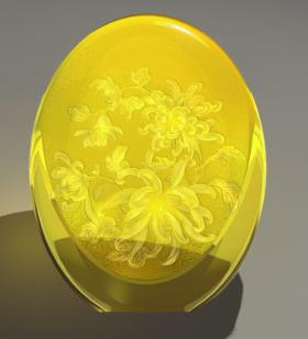 现代简约花卉图案水晶琉璃花瓶