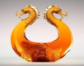 现代中国风双龙琉璃摆件