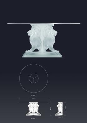 写实欧风水晶狮子腿圆餐桌