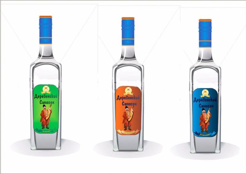 Rustic samogon伏特加酒瓶标签设计