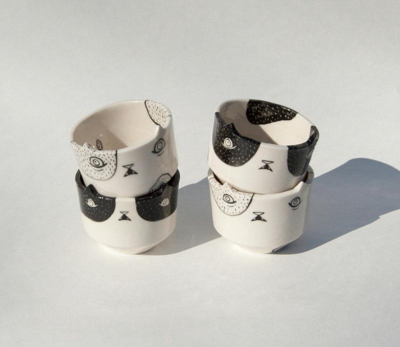 陶瓷碗-黑白对比的猫