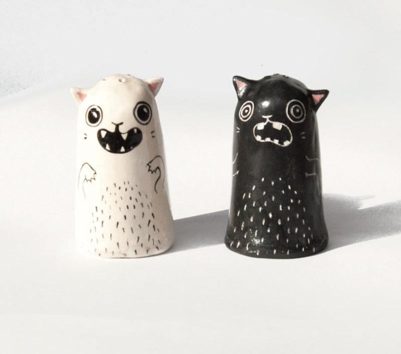 小猫陶瓷盐罐和胡椒罐