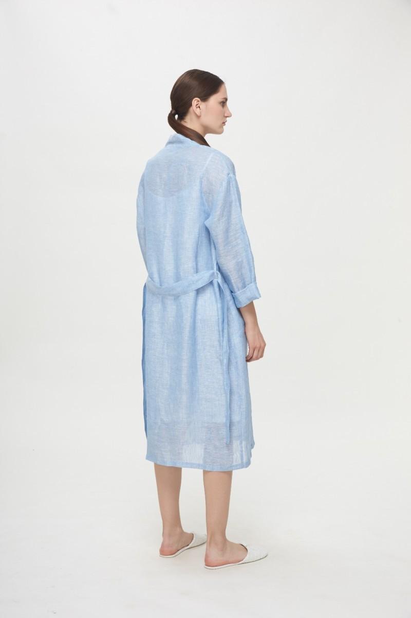 亚麻简洁宽松系带睡袍
