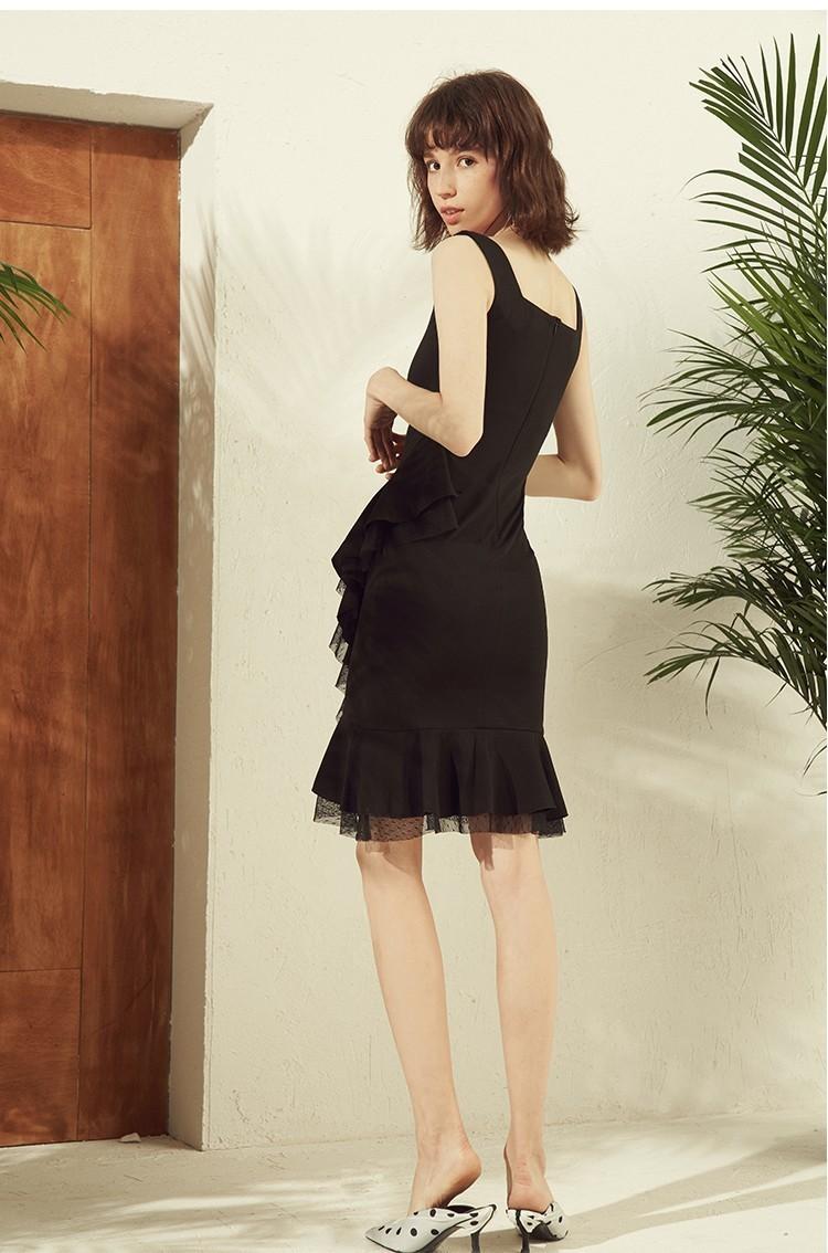 黑色经典无袖荷叶边包臀修身连衣裙