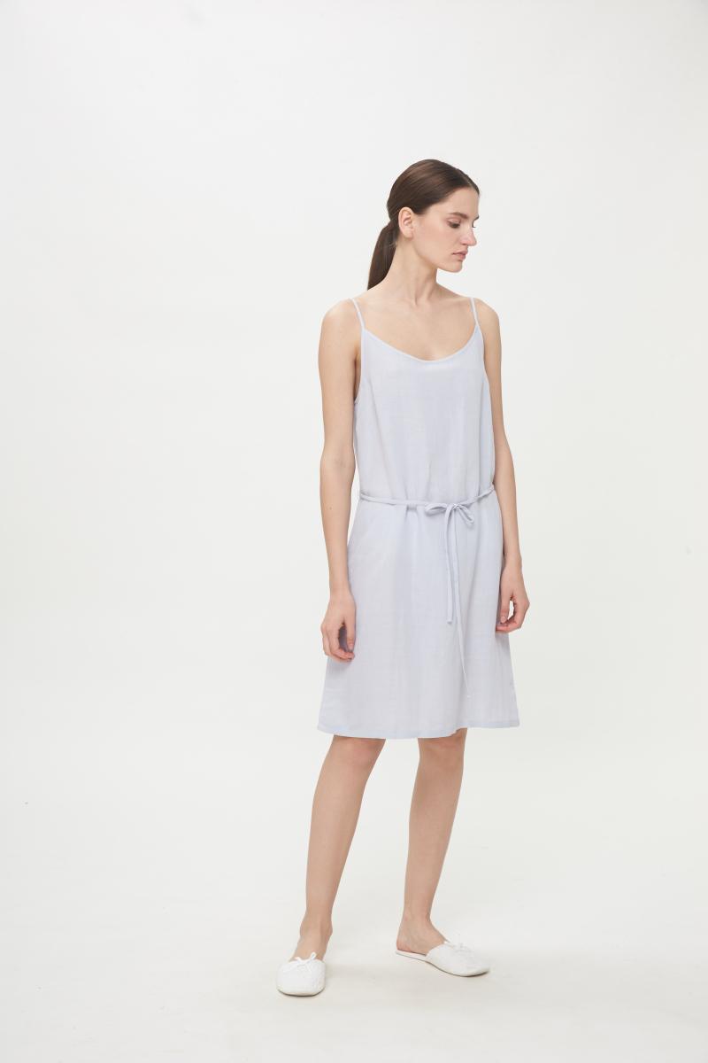 雾霾蓝天丝麻A型打底吊带裙
