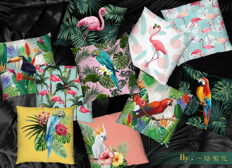 热带花鸟靠垫