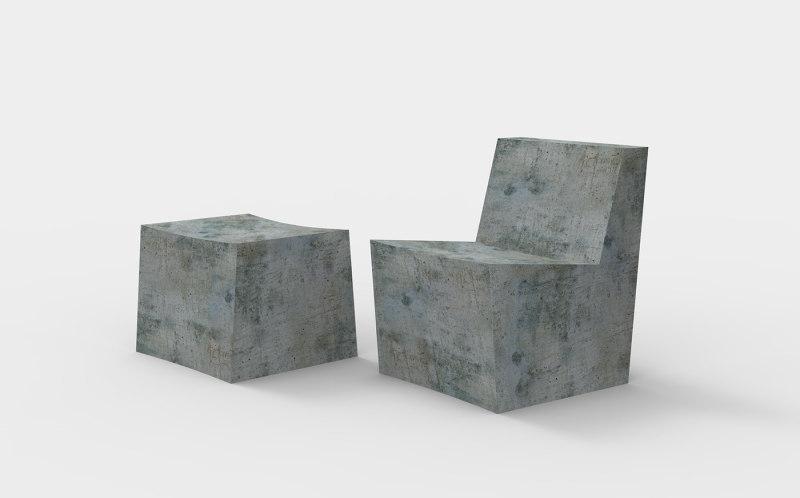 混凝土椅子和搁脚凳