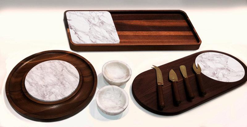 胡桃木和白色大理石